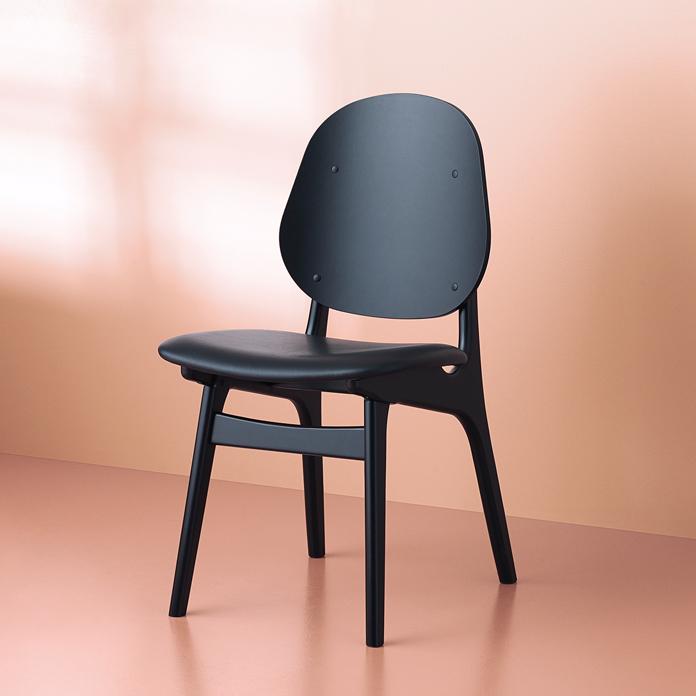 warmnordic furniture noble diningchair blackstained beech seat black leather prescott v 696x696