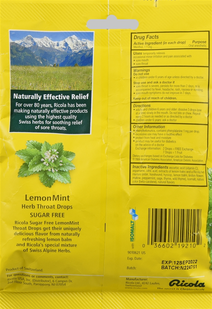 Ricola Herb Throat Drops Sugar Free Lemon Mint