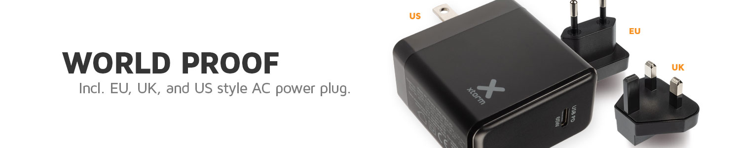 World adapter with international power plugs included