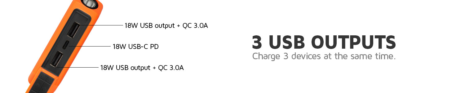 3 outputs to charge 3 devices at the same timey