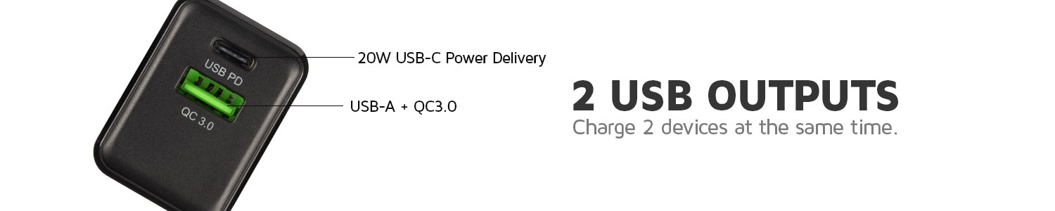 2x output for charging 2 devices at the same time