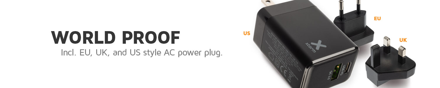 World proof with international power plugs included